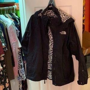 North Face Women's Rain Jacket with leopard inside